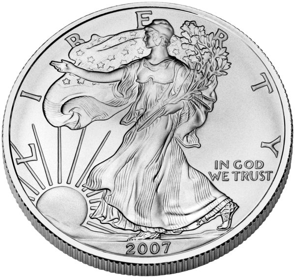 click for larger picture of 2007 Silver Eagle Uncirculated 1oz