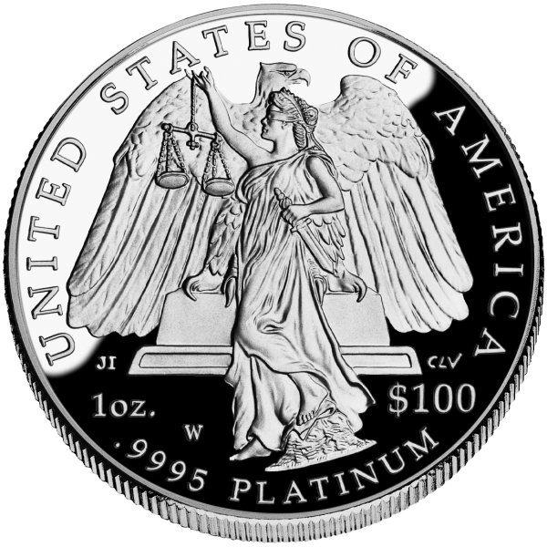 click for larger picture of 2008 W American Platinum Eagle Proof 1 ounce $100 (Lady Justice reverse)