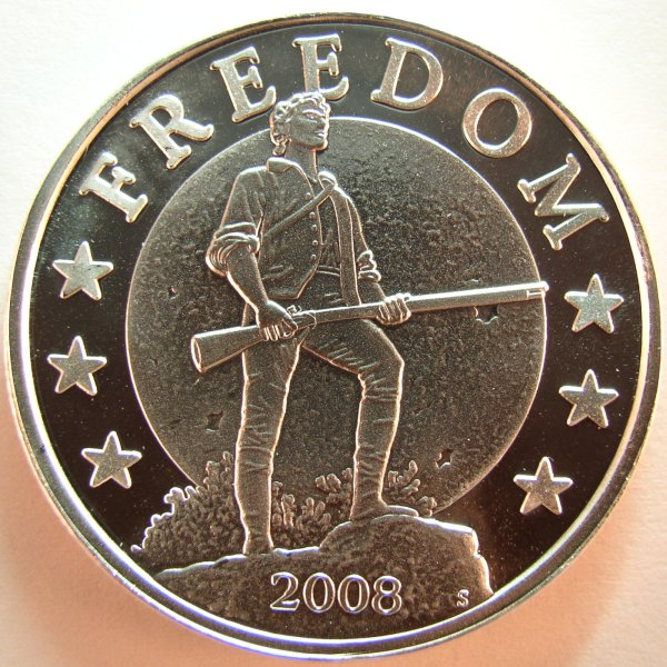 click for larger picture of 2008 G.I.M. Minuteman Silver Round
