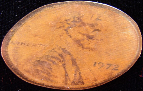 click for larger picture of Susan Constant Elongated on a 1972 Lincoln Cent