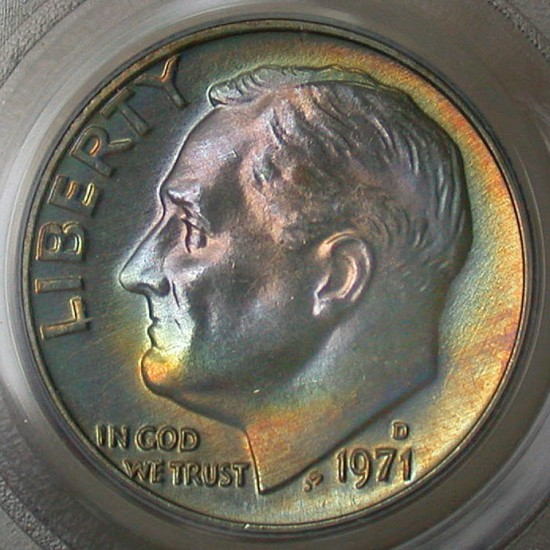 click for larger picture of 1971 D Roosevelt Dime