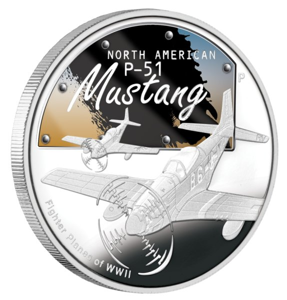 click for larger picture of 2008 P Tuvalu Silver Dollar - P-51 Mustang