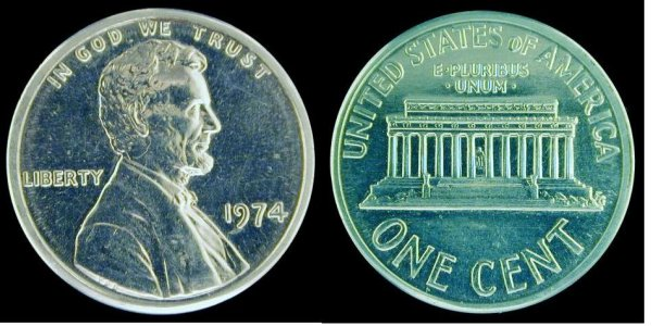 click for larger picture of 1974 Aluminum Lincoln Cent
