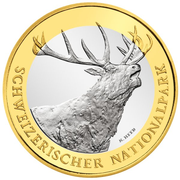 click for larger picture of 2009 B Swiss 10 Francs Bimetallic Swiss National Park - Red Deer