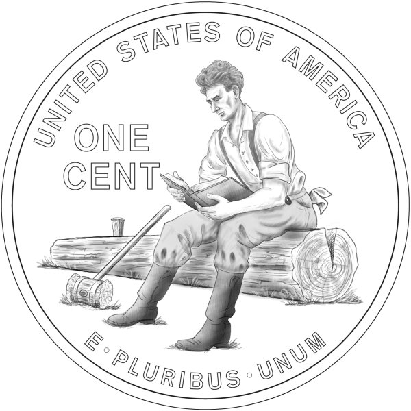 click for larger picture of 2009 Lincoln Bicentennial One Cent  (Formative Years in Indiana line art design)