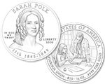 2009 Sarah Polk Commemorative 1/2 oz Gold $10 (line art design)