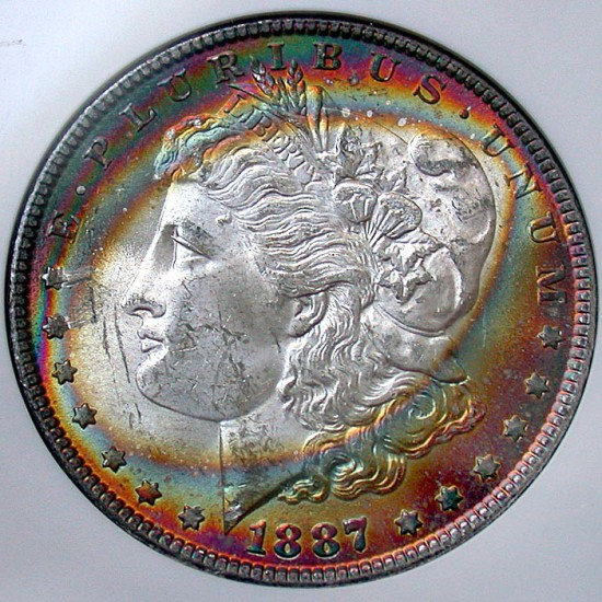 click for larger picture of 1887 Morgan Dollar Rainbow Target Toned