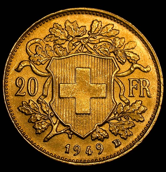 click for larger picture of 1949 B Swiss Gold 20 Francs