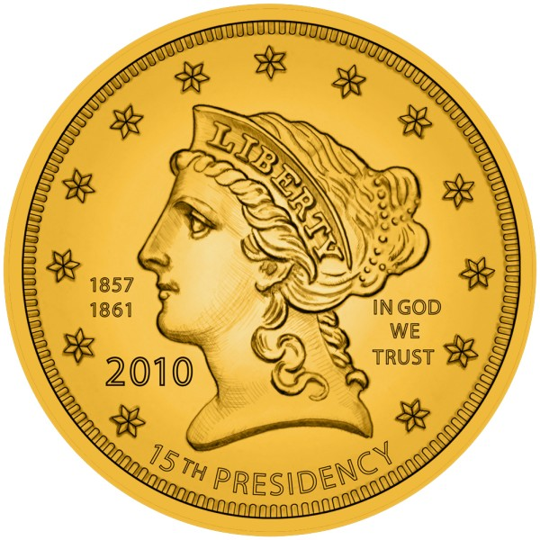 click for larger picture of 2010 James Buchanan's Liberty Commemorative 1/2 oz Gold $10 (Artist Rendering)