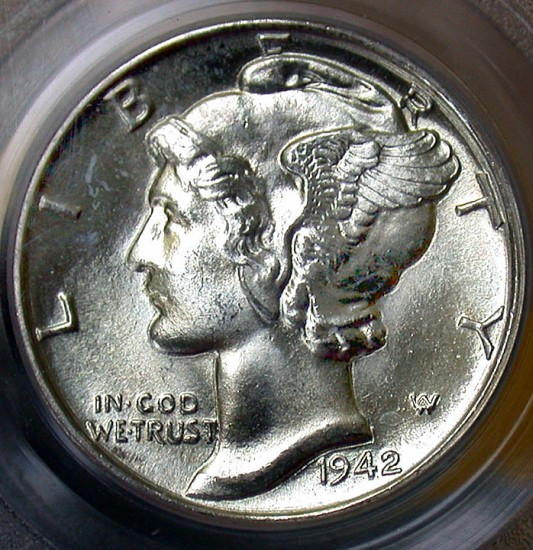 click for larger picture of 1942 D Mercury Dime