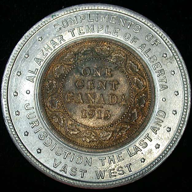 1915 Canadian Encased Large Cent (calgary 1920)