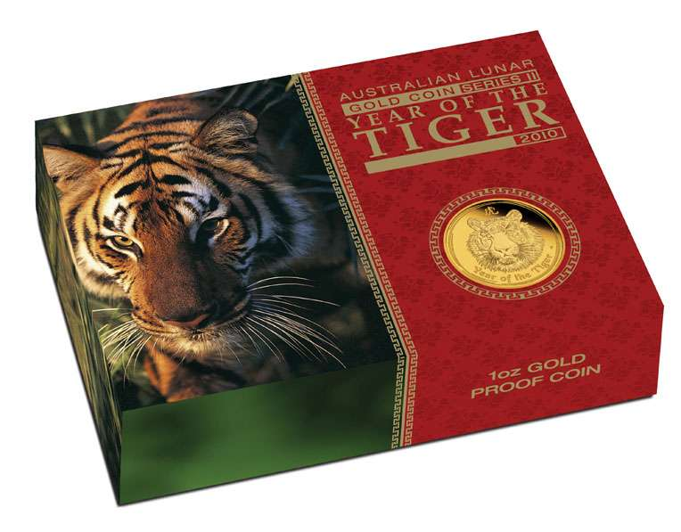 2010 Australian Gold Tiger Proof 1 ounce 100 Dollars