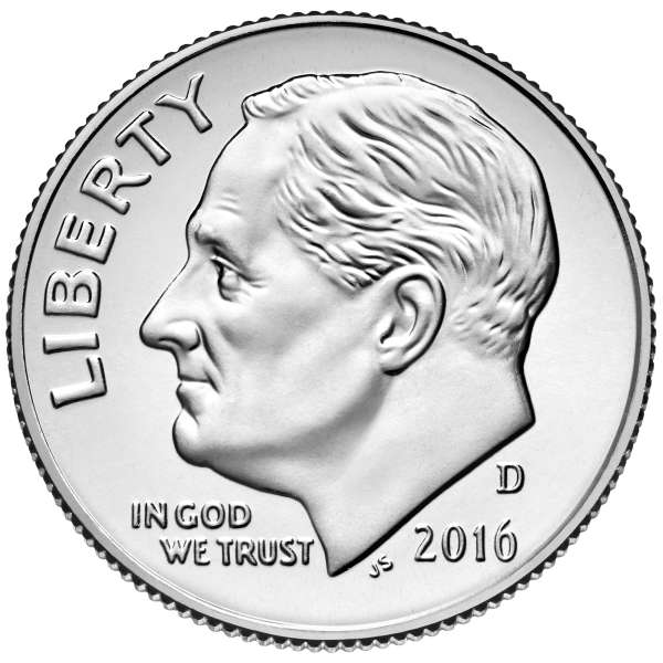 click for larger picture of 2016 D Roosevelt Dime Uncirculated