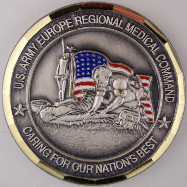 click for larger picture of US Army Europe Regional Medical Command Commander's Coin