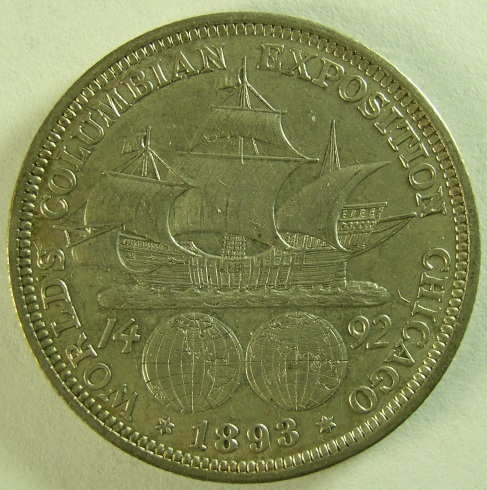 click for larger picture of 1893 Columbian Exposition Half Dollar