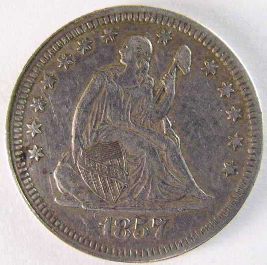 click for larger picture of 1857 Seated Liberty Quarter Dollar