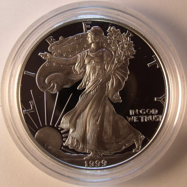click for larger picture of 1999 P American Silver Eagle Proof