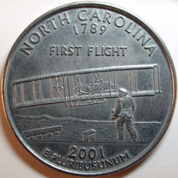 click for larger picture of 2001 D North Carolina State Quarter Oversized Replica