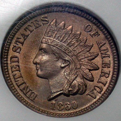 click for larger picture of 1860 Indian Head Cent CN