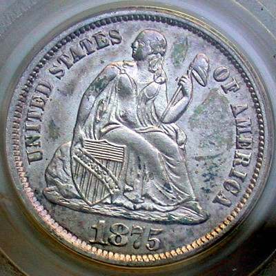 click for larger picture of 1875 S Seated Liberty Dime (S Below Bow)