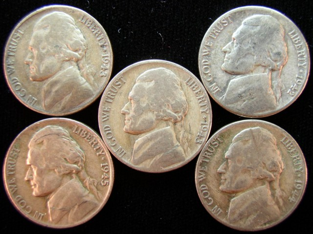 click for larger picture of Jefferson Silver Nickels