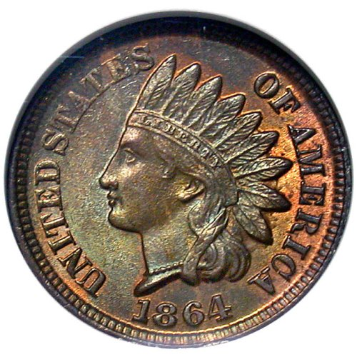 click for larger picture of 1864 Indian Head Cent Bronze
